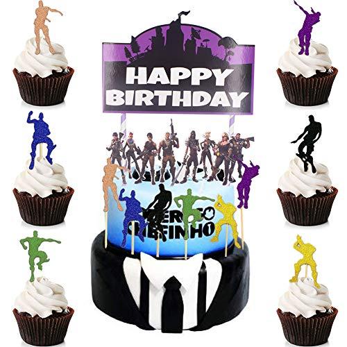 BESLIME Geburtstag Tortendeko 13pcs Cake Topper, Cake Topper Personalisiert, für Kinder Mädchen Junge Party Geburtstag Party Kuchen Dekoration