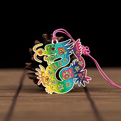CJH Metalen Messing Bladwijzer Creatieve Chinese Zodiac Bladwijzers Leraar Klasgenoten Verjaardagscadeau Draak