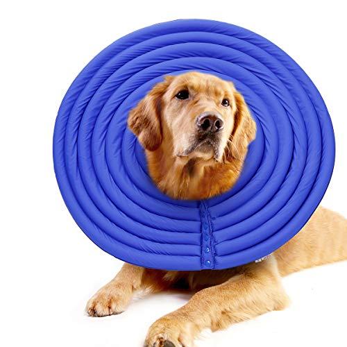 Skyddskrage för hundar och katter, återhämtning E-krage kon för små husdjur, medelstora husdjur, stora husdjur, utformad för att förhindra att husdjur rör sömmar, blockerar inte synen (blå)