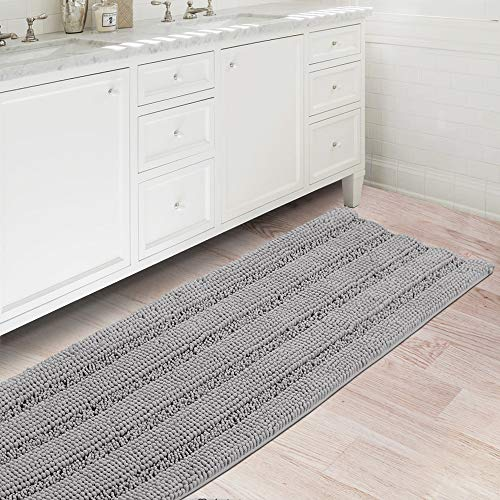 Bath Rugs Ultra Thick and Soft Texture Bath Mat Chenille Plush Striped Floor Mats Hand Tufted Bath Rug with Non-Slip Backing Door Mat for Kitchen/Entryway (Dove - 47' x 17')