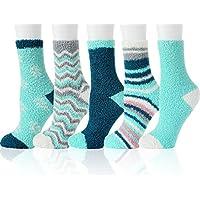 5-Pairs Yoka Fuzzy Cozy Women Fluffy Plush Crew Slipper Sock