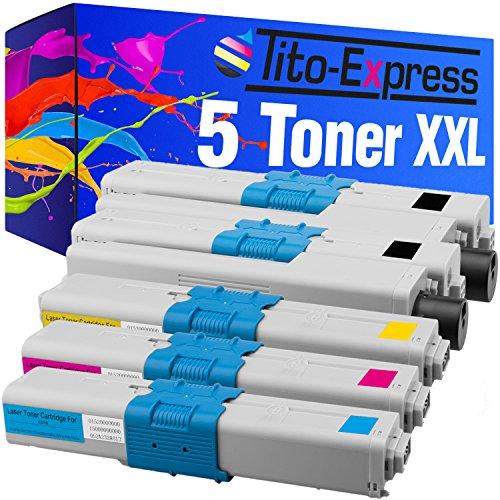 Tito-Express PlatinumSerie 5 Toner XXL für Oki C310 C510 C310DN C330DN C331DN C510DN C511DN C530DN C531DN MC351DN MC352DN MC361DN 44469803 44469706 44469705 44469704 Black 3.500
