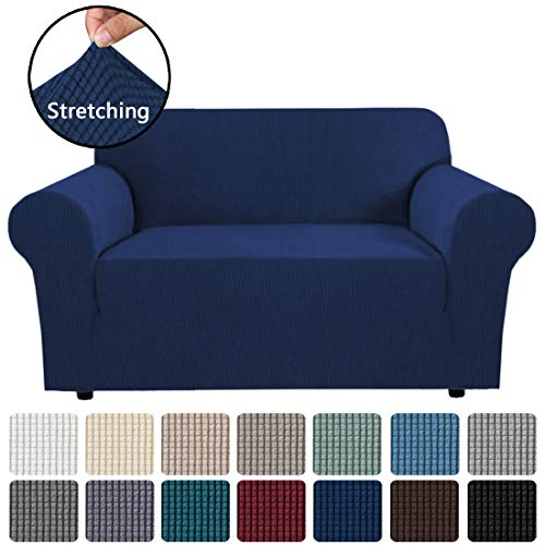 "Stretch Couch Cover Loveseat Covers for 2 Cushion Couch Loveseat Slipcover|Sofa Cover for Loveseat 1 Piece with Elastic Bottom, Textured Checked Jacquard Fabric(Loveseat 58""-72"" Wide, Navy)"