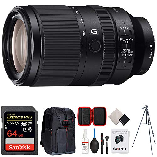 "Sony FE 70-300mm F4.5-5.6 G OSS Full-Frame E-Mount Lens (SEL70300G) + 64GB Accessories Bundle Includes, 64GB SDXC Memory Card, Photo Camera Sling Backpack, 60"" Video Tripod & All-in-One Cleaning Kit"
