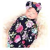 Ensemble de Bandeau Couverture Réception Nouveau-Né, Couverture de Swaddle Blanket Fleur Impression Avec Bow Set, Cadeau de Shower de Bébé pour Filles Garçons (Rose Bleu Marine)