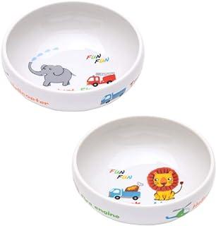 ポタリーハウス(Pottery House) ファンファン すくい易いボウル ライオン/ぞう 2柄組 磁器 2240209
