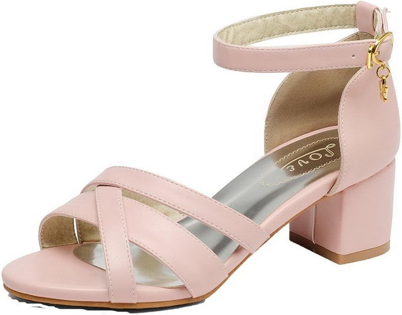AmoonyFashion Women's Solid Kitten-Heels Open-Toe Buckle Sandals