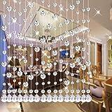 Glass crystal bead curtain modern bead curtain curtain decoration restaurant living room wedding decoration 20pcs width 1m + track (purple, one sample) (white,2.5M)