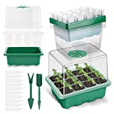 10 Pack 120-cell Seed Starter Tray kit, ANGTUO Plant Germination Starter Kit Growing Trays with Humidity Dome and Base for Greenhouse Grow Wheatgrass Hydroponic(12 Cells per Tray&12 Tools in Total)