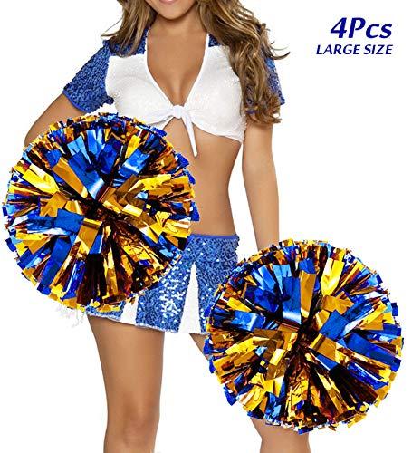 4 Stücke Groß Cheerleading Pompons, Hatsian Cheerleading Pom Pom Cheerleader Pompons Zum Sport Prost Ball Tanz Verrücktes Kleid Nacht Party(14 '') (Gold + Blau)