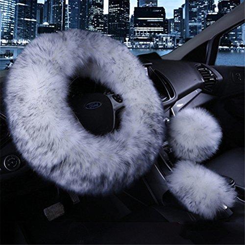 Silence Shopping 3Pcs Fashion Steering Wheel Covers Winter Warm Australia Pure Plush Soft Wool Handbrake Cover Gear Shift Cover Guard Truck Car Accessory 14.96'x 14.96' 1 Set (Gray)