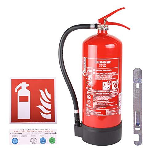 Set AB 6l Schaum-Feuerlöscher 6 LE Manometer Halterung + Symbolschild Feuerlöscher ISO 7010 (Dauerdrucklöscher GPN-6X)