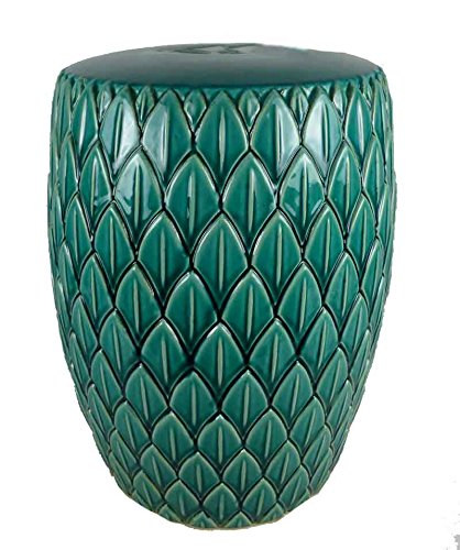 Sagebrook Home FC10446-01 Modern Leaf Garden Stool, Light Teal Ceramic, 16 x 16 x 19 Inches