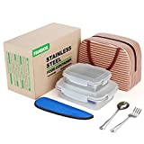 Stainless Steel Bento Lunch Box for Kids&Adult Meal Prep Lunch Box Containers With Lids -To Go Lunchbox- Metal Sandwich Food Storage Containers -2 Pieces Set 29oz& 15oz With Lunch Bag Utensil