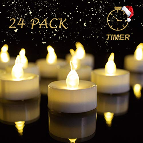 Beichi Battery Operated Tea Lights with Timer, Set of 24 LED Timed Tealight Candles, Warm White Flickering Electric Tea Candles, 6 hrs On 18 hrs Off