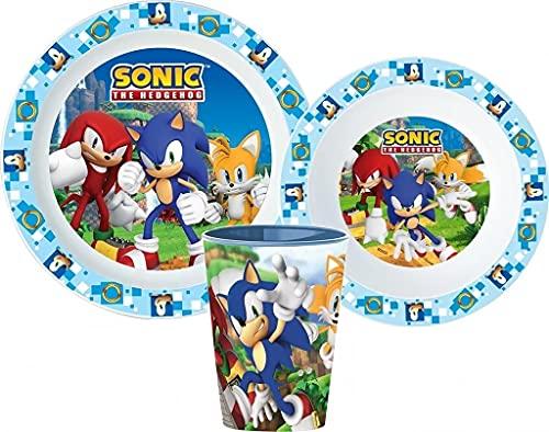 Vajilla infantil con plato, cuenco para cereales y vaso (Sonic)