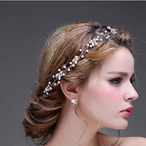 Edary Flower Wedding Hair Combs Crystal Bridal Headpiece Beaded Hair Accessories for Women and Girls (Silver)