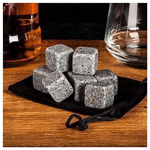 Whisky-Steine Geschenkset, 9er Set Whisky-Steine Kühlsteine aus Natürlichem Speckstein für Getränke mit Stoffbeutel Whiskey Rocks Eissteine Cooling Stones Eiswürfel, Wiederverwendbare Kühlsteine