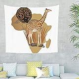 Afrikanisch Karte Giraffe Wandteppich Wandbehang Hippie Bohemian Tuch Wandtuch Tapestry Tapisserie Wanddeko für Schlafzimmer Strandtuch Tischdecke Weiß 150x130cm