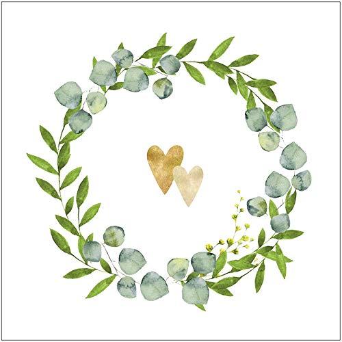 Miss Lovely Hochzeitsservietten Botanical Hearts Servietten mit Blätter-Ranke weiß grün Gold Tisch-Dekoration Hochzeits-Deko Zubehör & Accessoires 60 Servietten