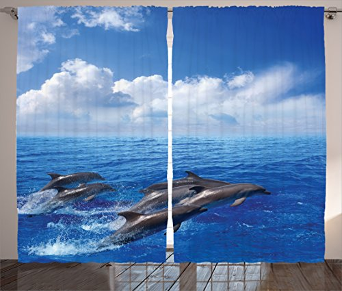 Ambesonne Sea Animals Curtains, Dolphins Jumping in Clear Sea and Fluffy Clouds in Sky Marine Life Photograph, Living Room Bedroom Window Drapes 2 Panel Set, 108' X 90', Blue Grey