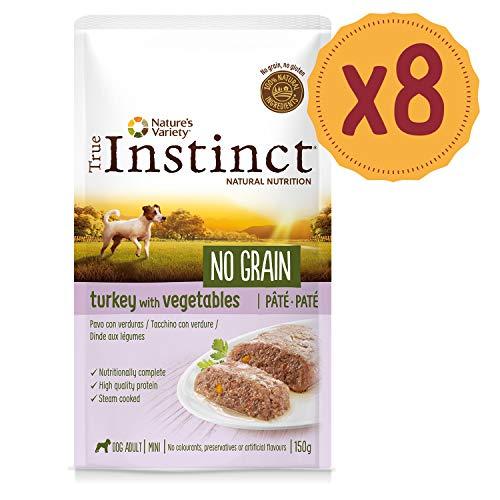 True Instinct No Grain Mini - Adult Paté Cibo per Cani, Tacchino e Verdura - 8 Pezzi da 150g, Totale: 1200 g