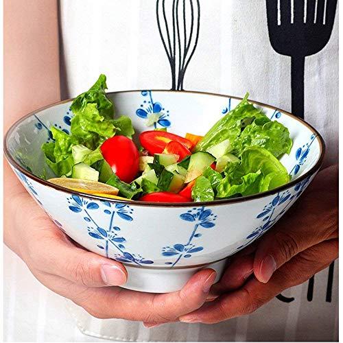 ZLININ Cerámica grande sopa Ramen fideos tazón de ensalada de fruta pasta tazón creativo pintado a mano para servir cuencos horno microondas 7.5 pulgadas