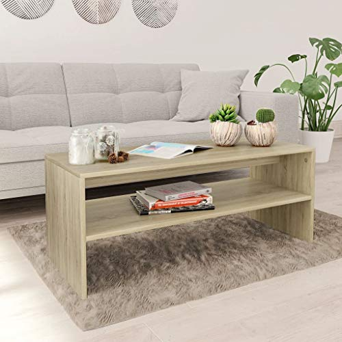 vidaXL Coffee Table with a Shelf Chipboard Elegant Accent Table Telephone Table Sofa Side Table Living Room Bedroom Furniture Sonoma Oak