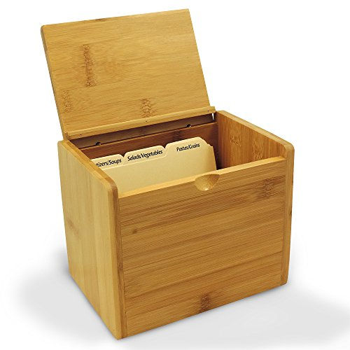 Cookbook People Recipe Box Bamboo (Unengraved) 4x6 Cards - Up to 300 Cards - Includes Dividers