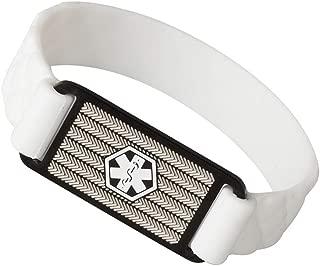 Medical Alert ID Bracelet Black Rhombic Silicone Band for Kids Women Men