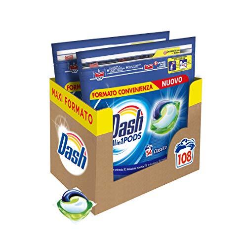 Dash All in 1 Pods Detersivo Lavatrice in Capsule, 108 Lavaggi (2 x 54), Classico, Maxi Formato, Rimuove le Macchie, Brillantezza Per Tutti i Capi