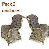 Pack 2 sillones reclinables para jardín, Aluminio y...