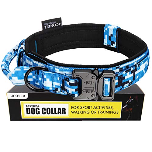 JCONEIL Tactical Dog Collar – Military K9 Dog Collar – Nylon Adjustable Dog Collar with Handle and Heavy Metal Buckle – Training and Service Dog Collar for Medium and Large Dogs( Blue Camo)