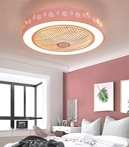Luz de decoración de habitación para niñas Ventilador De Techo Moderno LED Regulable Con Luz, Ventilador Interior De Velocidad Ajustable, Luz, Restaurante, Dormitorio, Iluminación, Deco(Color:mi)