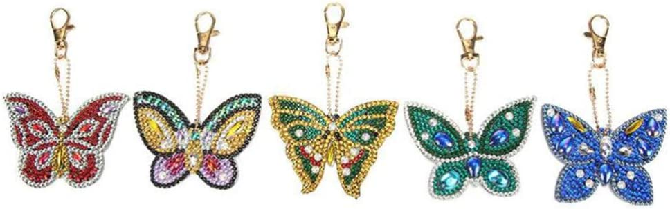 SUPVOX Diamond Painting Keychains Rhinestone Butterfly Keyring Bag Purse Pendant for Girls Women Handbag Phone Charm 5pcs