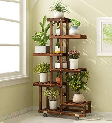 MingXinJia Bloem Staan Meerlagige Plant Display Stand Bloempot Stand Tuin Houten Stand Woonkamer Slaapkamer Balkon Decoratie Vloer Stand VloertypeCarbon bakken, Op wielen