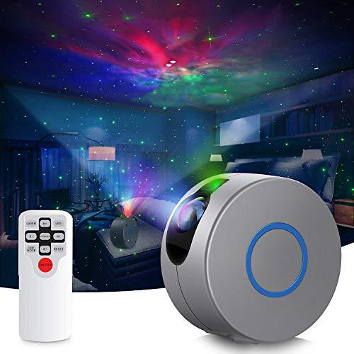 Proiettore di luce notturna, 2 en 1 luce notturna con cielo stellato con telecomando / 15 modalità di illuminazione, lampada di proiezione a LED mobile, luce d'atmosfera per la decorazione della
