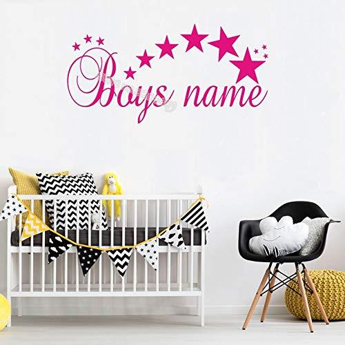 zhuziji Personalisierte Benutzerdefinierten Namen Wandaufkleber benutzerdefinierte Sterne Mädchen Jungen Namen Vinyl Aufkleber Pflege Kinderzimmer Dekoration mural120x60cm