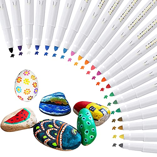 Hocerlu Rotuladores de Pintura Acrílica de 21 Colores, Tinta a Base de Agua de Secado Rápido e Inodoro, Rotuladores de Cobertura de Color Fuerte Para Casi Todo Tipo de Superficies, Punta de 1-2 mm