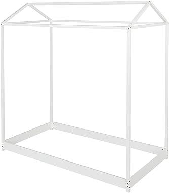 JOYMOR Twin House Bed for Kids Bed Frame,Solid Wood Floor Bed Platform Bedroom Furniture (White)