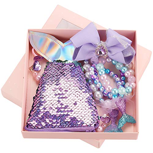 Seatecks 7Pcs Kids Jewelry Kits New Necklace Set Cute Cartoon Sequin Mermaid Handbag Bracelet Ring Earrings Hair Clips Set Party Favors Gift for Toddler Princess Jewelry Dress Up