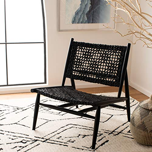 Safavieh Home Bandelier Black and Black Leather Weave Accent Chair