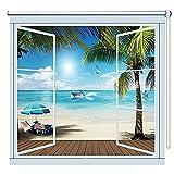Estor Enrollable Dormitorio Cocina Excelente Blackout Roll Up Blind, con Vista Bonita Al Mar y A La Playa, Cortinas Enrollables de 80/120/130/140/150cm de Ancho (Size : 150×150cm/59×59in)