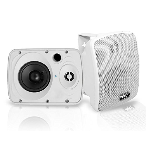 Outdoor Waterproof Wireless Bluetooth Speaker - 5.25 Inch Pair 2-Way Weatherproof Wall/Ceiling Mounted Dual Speakers w/Heavy Duty Grill, Universal Mount, Patio, Indoor Use - Pyle PDWR54BTW (White)