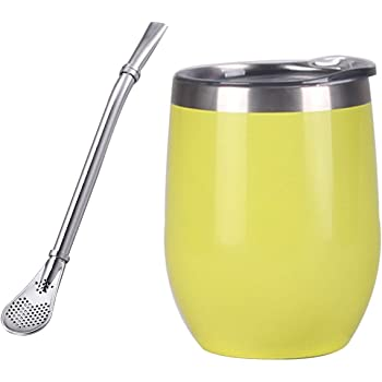 incluye taza Yerba Mate de doble pared pajita Yerba Mate tapa sin BPA y bombilla acero inoxidable Medium Juego moderno de calabaza Yerba Mate de acero inoxidable amarillo
