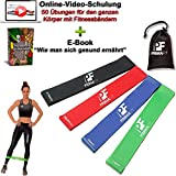 PrimaFit Fitnessbänder Set 4 Gymnastikbander Loops fur Yoga Pilates Crossfit Widerstandsbander...