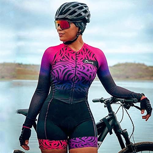 Donne in bicicletta Jersey manica lunga Triathlon tuta Bicycle skinsuit con tasche REGJ (Color : CJ280, Size : XXX-Large)