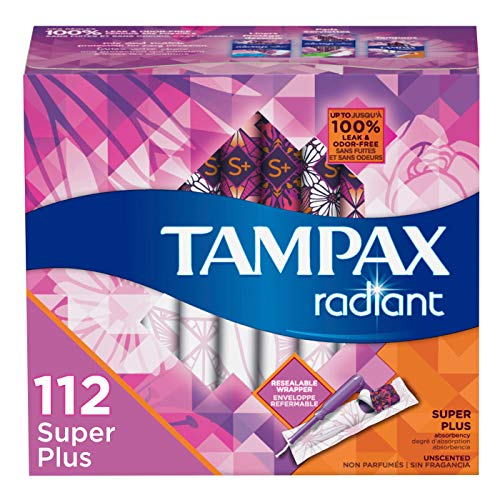 Tampax Radiant Plastic Tampons, Super Plus Absorbency, 112 Count,...