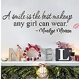 1pc Hogar De La Sonrisa del Maquillaje Arte Cita De Marilyn Monroe Vinilo Etiqueta De La Pared Decal