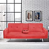 MIERES Modern Futon Couch for Living Room Fold Up & Down Recliner Sofa Bed w/Removable Armrest and 2 Cup Holders Convertible Love Seat for Small Space, Home Furniture for Apartment Essential, Red